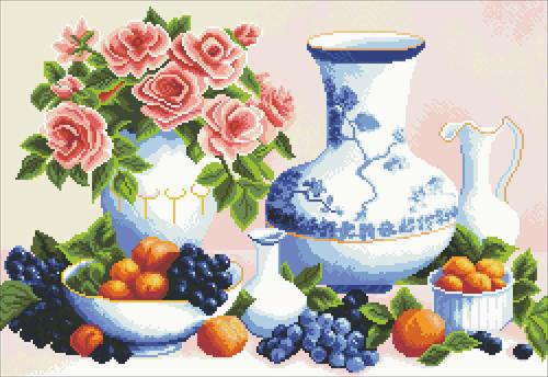 Набор для создания картины со стразами Алмазная Живопись Натюрморт с розами, 45 х 65 см581177Набор для изготовления картины со стразами Алмазная Живопись Натюрморт с розами поможет вам создать свой личный шедевр. Работа, выполненная своими руками, станет отличным подарком для друзей и близких! Холст-схема покрыт высококачественным клеевым слоем, на который с помощью пинцета размещаются акриловые стразы на рисунок. Подарите близким тепло ваших рук! В набор входит: - холст с цветным изображением-схемой (73 см х 52 см); - контейнер для страз; - акриловые стразы: 35 цветов (2,5 мм х 2,5 мм); - пинцет; - инструкция на русском языке.