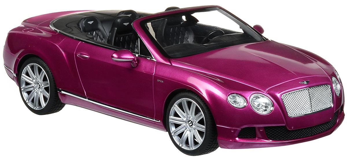 Rastar Радиоуправляемая модель Bentley Continental GT Speed Convertible цвет малиновый49900_малиновыйРадиоуправляемая модель Rastar Bentley Continental GT Speed Convertible станет отличным подарком любому мальчику! Все дети хотят иметь в наборе своих игрушек ослепительные, невероятные и крутые автомобили на радиоуправлении. Тем более, если это автомобиль известной марки с проработкой всех деталей, удивляющий приятным качеством и видом. Одной из таких моделей является автомобиль на радиоуправлении Rastar Bentley Continetal GT Speed Convertible. Это точная копия настоящего авто в масштабе 1:12. Авто обладает неповторимым провокационным стилем и спортивным характером. Потрясающая маневренность, динамика и покладистость - отличительные качества этой модели. Возможные движения: вперед, назад, вправо, влево, остановка. Имеются световые эффекты. Пульт управления работает на частоте 27 MHz. Для работы игрушки необходимы 5 батареек типа АА (не входят в комплект). Для работы пульта управления необходима 1 батарейка 9V (6F22) (не входит в комплект).