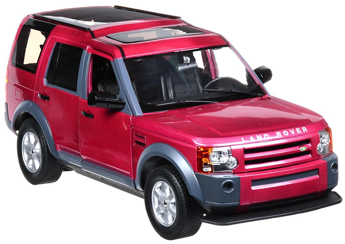Rastar Радиоуправляемая модель Land Rover Discovery 3 цвет малиновый13000/LR3-10_малиновыйРадиоуправляемая модель Rastar Landrover Discovery 3 станет отличным подарком любому мальчику! Все дети хотят иметь в наборе своих игрушек ослепительные, невероятные и крутые автомобили на радиоуправлении. Тем более, если это автомобиль известной марки с проработкой всех деталей, удивляющий приятным качеством и видом. Одной из таких моделей является автомобиль на радиоуправлении Rastar Landrover Discovery 3. Это точная копия настоящего авто в масштабе 1:10. Авто обладает неповторимым провокационным стилем. Потрясающая маневренность, динамика и покладистость - отличительные качества этой модели. Капот, передние двери, багажник открываются. Приборная панель и салон выполнены в мельчайших подробностях. Возможные движения: вперед, назад, вправо, влево, остановка. Имеются световые эффекты. Пульт управления работает на частоте 27 MHz. Игрушка работает от сменного аккумулятора (входит в комплект). Для работы пульта управления необходима 1 батарейка...