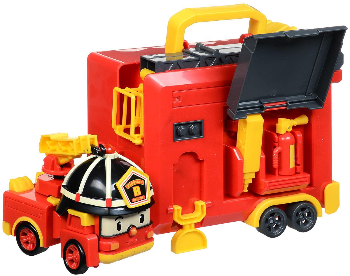 Robocar Poli Игрушка-трансформер Рой с гаражом83073Игрушка-трансформер Robocar Poli Рой с гаражом - это целый набор, состоящий из пожарной машинки-робота Роя и прицепа-гаража, где Рой может жить сам и хранить свои инструменты. Пожарная машинка-робот Рой - один из персонажей мультфильма Робокар Поли и его друзья. Он всегда готов трансформироваться из робота в пожарную машину и примчаться на помощь любому жителю городка Брумстаун. Колеса машинки вращаются, на верхушке шлема горит маячок. Прицеп оборудован пожарной лестницей с люлькой, которая может подниматься и поворачиваться. Сбоку прицепа есть специальный отсек для хранения инструментов Роя. Удобная ручка на крыше прицепа служит для переноски всего набора. Теперь, куда бы ваш малыш ни отправился, он всегда сможет взять с собой любимую игрушку! В комплект входит: трансформер, прицеп, огнетушитель, водяная пушка, пожарный кран. Ваш ребенок с удовольствием будет играть с трансформером, придумывая разные истории. Порадуйте его таким замечательным подарком! ...