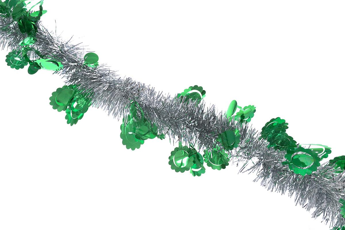 Мишура новогодняя Sima-land, цвет: серебристый, зеленый, диаметр 6 см, длина 200 см. 825978825978_серебристый, зеленыйНовогодняя мишура Sima-land, выполненная из фольги с дизайном в виде солнышка, поможет вам украсить свой дом к предстоящим праздникам. А новогодняя елка с таким украшением станет еще наряднее. Мишура армирована, то есть имеет проволоку внутри и способна сохранять придаваемую ей форму. Новогодней мишурой можно украсить все, что угодно - елку, квартиру, дачу, офис - как внутри, так и снаружи. Можно сложить новогодние поздравления, буквы и цифры, мишурой можно украсить и дополнить гирлянды, можно выделить дверные колонны, оплести дверные проемы.