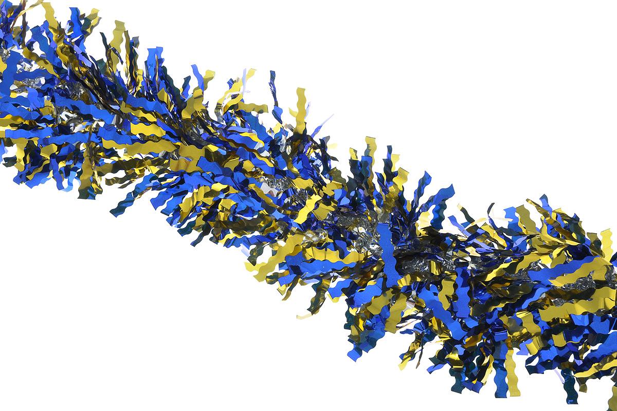 Мишура новогодняя Sima-land, цвет: синий, золотистый, диаметр 13 см, длина 200 см. 825987825987_синий, золотистыйПушистая новогодняя мишура Sima-land, выполненная из двухцветной фольги, поможет вам украсить свой дом к предстоящим праздникам. А новогодняя елка с таким украшением станет еще наряднее. Мишура армирована, то есть имеет проволоку внутри и способна сохранять придаваемую ей форму. Новогодней мишурой можно украсить все, что угодно - елку, квартиру, дачу, офис - как внутри, так и снаружи. Можно сложить новогодние поздравления, буквы и цифры, мишурой можно украсить и дополнить гирлянды, можно выделить дверные колонны, оплести дверные проемы.
