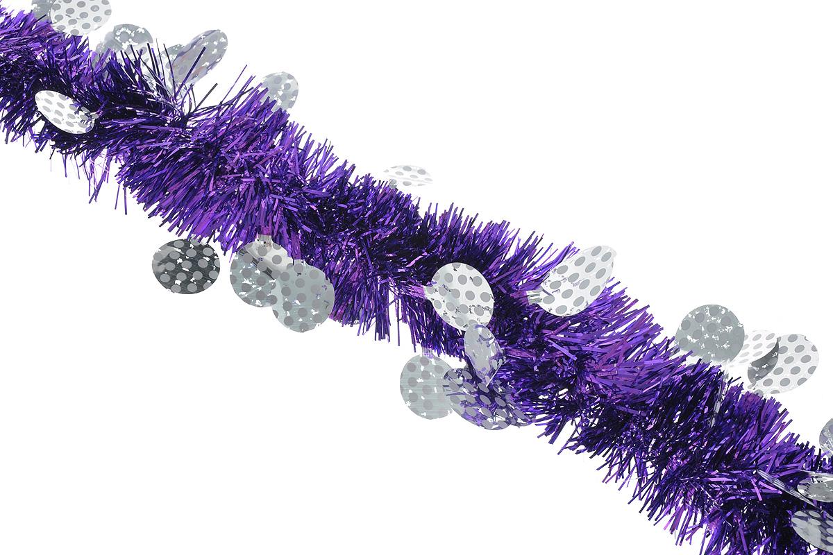 Мишура новогодняя Sima-land, цвет: фиолетовый, серебристый, диаметр 6 см, длина 200 см. 825975825975_фиолетовый, серебристыйПушистая новогодняя мишура Sima-land, выполненная из двухцветной фольги, поможет вам украсить свой дом к предстоящим праздникам. А новогодняя елка с таким украшением станет еще наряднее. Мишура армирована, то есть имеет проволоку внутри и способна сохранять придаваемую ей форму. Новогодней мишурой можно украсить все, что угодно - елку, квартиру, дачу, офис - как внутри, так и снаружи. Можно сложить новогодние поздравления, буквы и цифры, мишурой можно украсить и дополнить гирлянды, можно выделить дверные колонны, оплести дверные проемы.
