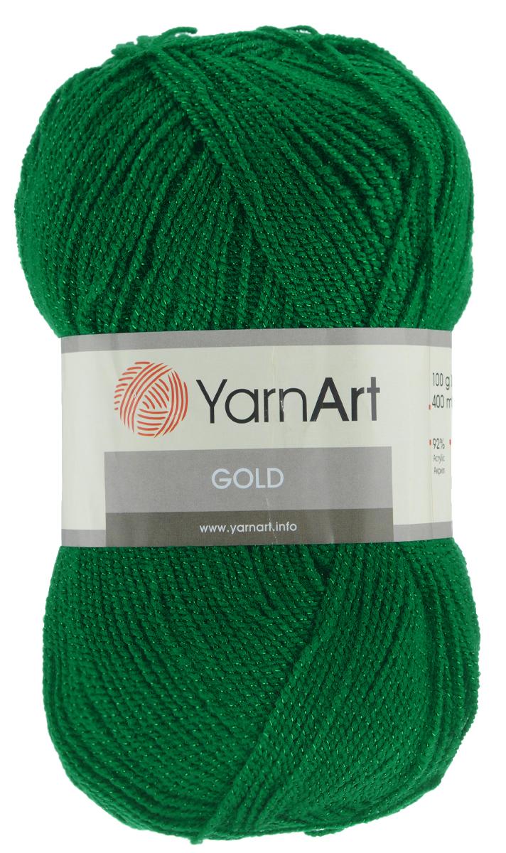 Пряжа для вязания YarnArt Gold, цвет: темно-зеленый (9049), 400 м, 100 г, 5 шт372007_9049Мерцающая нитка с люрексом для вязания YarnArt Gold равномерно окрашена с помощью стойких высококачественных красителей, нить плотно скручена, люрекс не выбивается в процессе вязания, петли ложатся равномерно. YarnArt Gold - декоративная пряжа с широкой цветовой палитрой, предназначенная для демисезонной одежды. Акрил защищает готовое изделие от деформации после стирки и сушки. Нить гибкая и эластичная, хорошо тянется, превосходно сохраняет форму после носки. Изысканная пряжа для создания вечерних нарядов выглядит дорого и стильно. Рекомендуется для вязания на спицах 2,75 мм и крючках 3,25 мм. Состав: 92% акрил, 8% металлик полиэстер.
