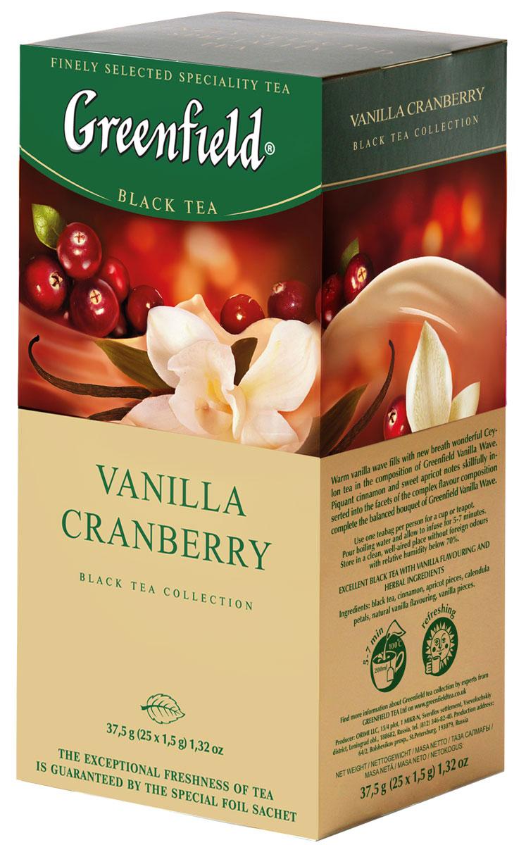 Greenfield Vanilla Cranberry черный чай в пакетиках, 25 шт1118-10Теплая волна ванили наполняет новым дыханием великолепный цейлонский чай в композиции Greenfield Vanilla Cranberry. Прохладный, кисловато-сладкий аромат и свежая морозная горчинка спелой клюквы, виртуозно вплетенные в грани сложного вкуса, завершают великолепную композицию этого чая.