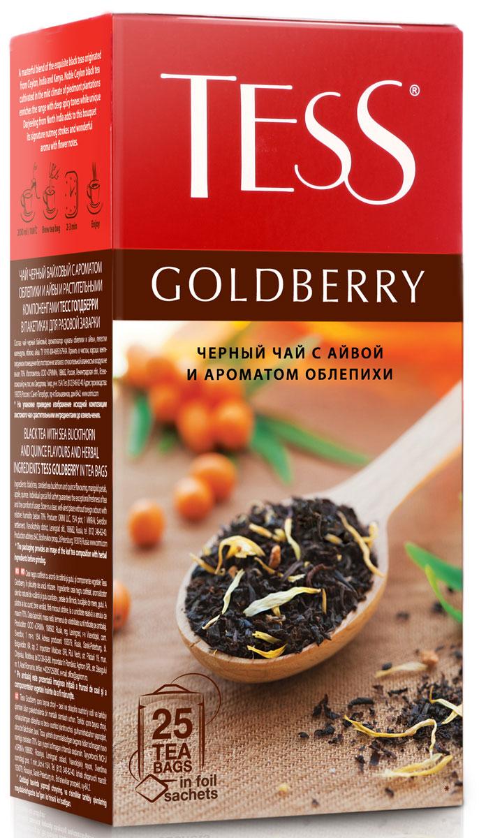 Tess Goldberry черный чай в пакетиках, 25 шт1133-10Изысканная гамма купажа чая Tess Goldberry открывает множество сложных оттенков, деликатно сменяющих друг друга. Тонкая сладковатая нота и своеобразный, чуть вяжущий вкус спелой айвы переплетается с легкой горчинкой облепихи, подчеркивая мягкую пряность превосходного черного цейлонского чая.