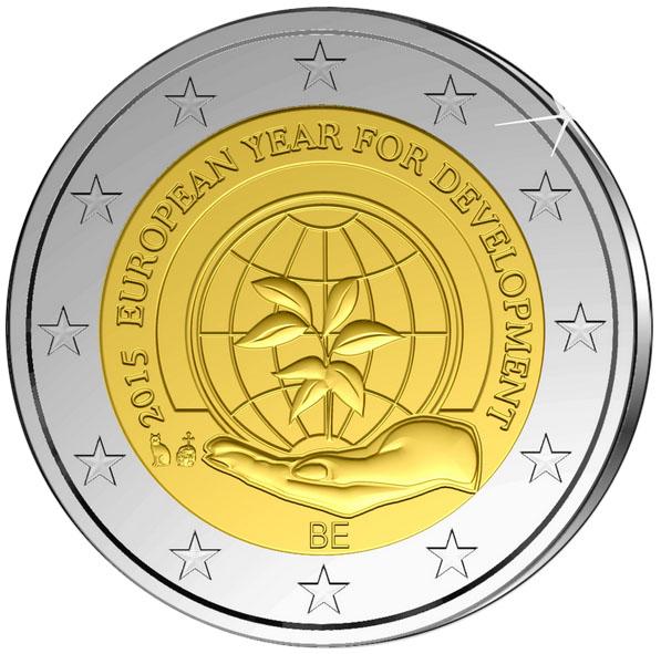 Монета номиналом 2 евро Европейский год развития. Бельгия, 2015 год324006Диаметр: 25 мм. Сохранность: UNC (без обращения)