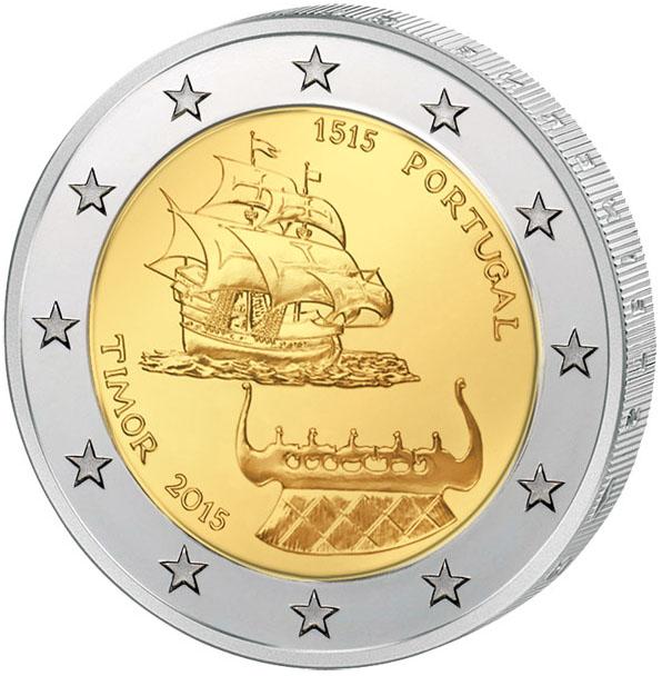 Монета номиналом 2 евро 500-летие открытия Португальского Тимора. Португалия, 2015 год324006Диаметр: 25 мм. Сохранность: UNC (без обращения)