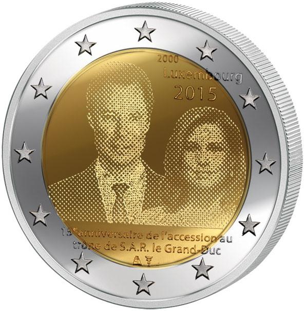 Монета номиналом 2 евро 15-летие вступления на престол Великого Герцога Анри. Люксембург, 2015 год324006Диаметр: 25 мм. Сохранность: UNC (без обращения)