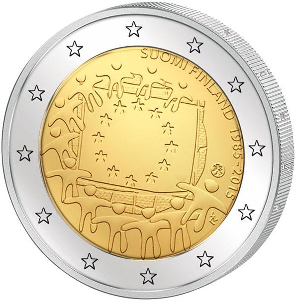 Монета номиналом 2 евро 30 лет флагу Европы. Финляндия, 2015 год324006Диаметр: 25 мм. Сохранность: UNC (без обращения)