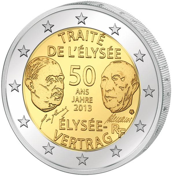 Монета номиналом 2 евро 50 лет Франко-Германскому договору о дружбе и сотрудничестве. Франция, 2013 год324006Диаметр: 25 мм. Сохранность: UNC (без обращения)