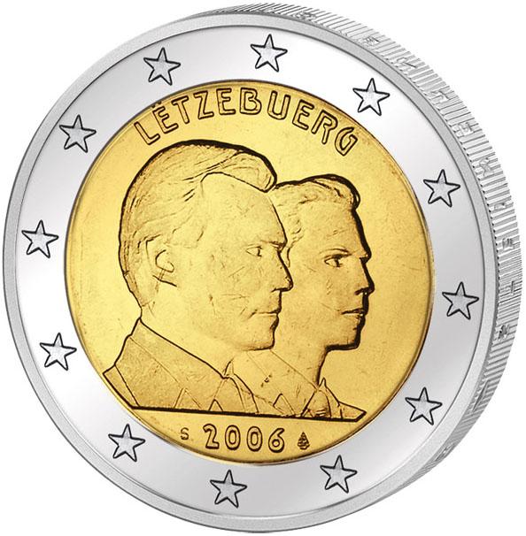 Монета номиналом 2 евро 25-летие принца Гийома. Люксембург, 2006 год324006Диаметр: 25 мм. Сохранность: UNC (без обращения)