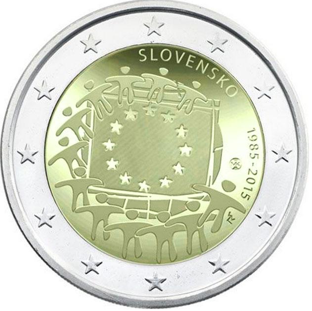 Монета номиналом 2 евро 30 лет флагу Европы. Словакия, 2015 год324006Диаметр: 25 мм. Сохранность: UNC (без обращения)