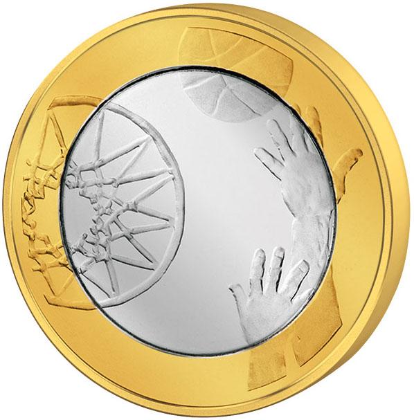 Монета номиналом 5 евро Баскетбол. Финляндия, 2015 год324006Вес: 9,70 г. Диаметр: 27,25 мм. Тип гурта: Гладкий. Сохранность UNC (без обращения)
