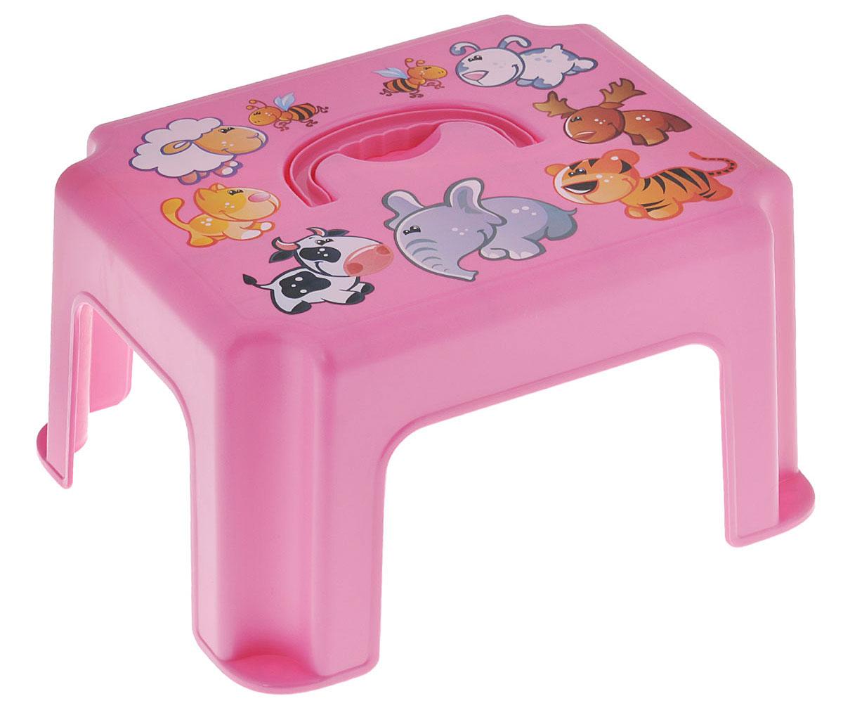 Idea Табурет-подставка детский с ручкой цвет розовый