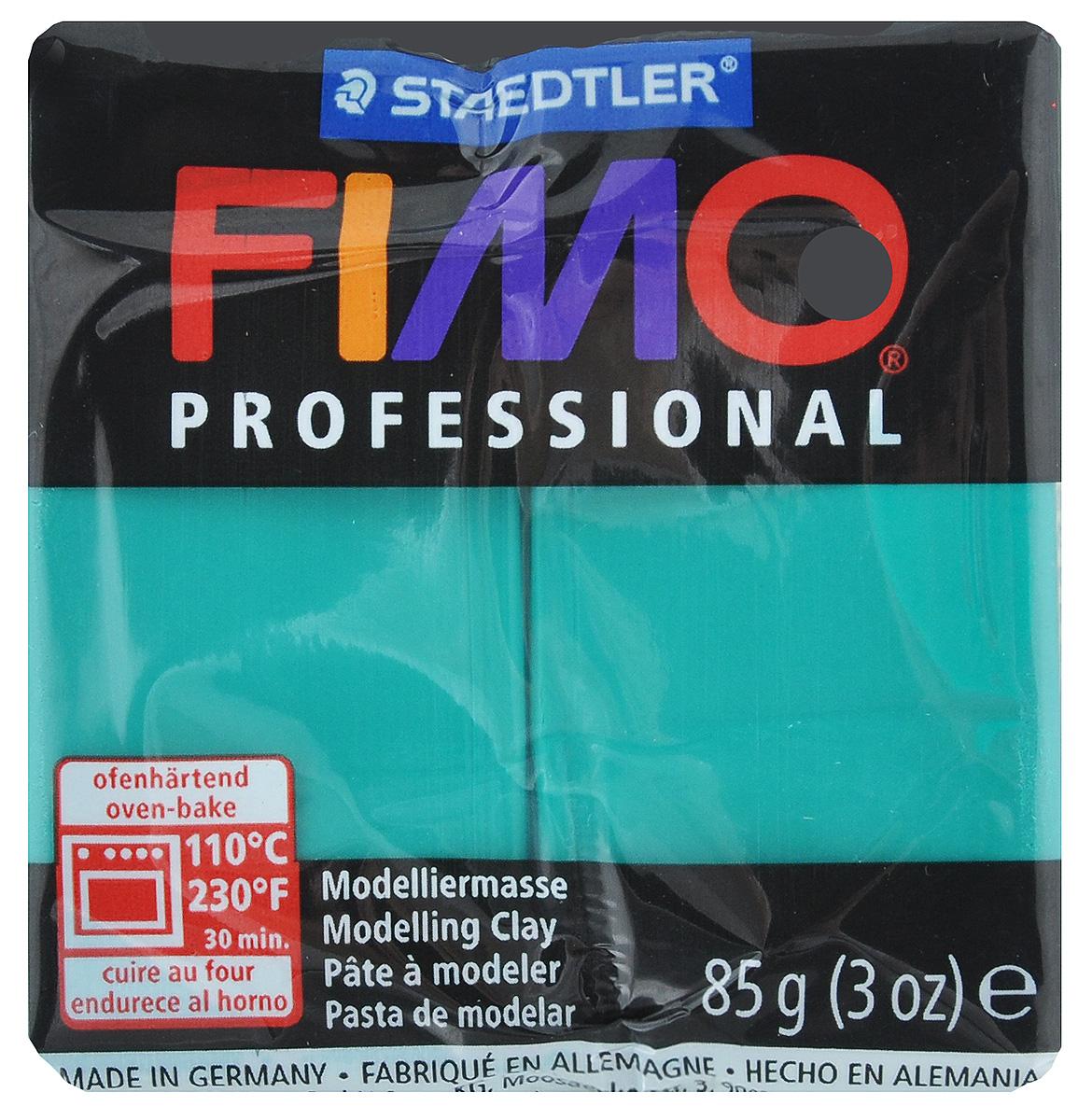 Полимерная глина Fimo Professional, цвет: чисто-зеленый, 85 г8004-500Мягкая глина на полимерной основе (пластика) Fimo Professional идеально подходит для лепки небольших изделий (украшений, скульптурок, кукол) и для моделирования. Глина обладает отличными пластичными свойствами, хорошо размягчается и лепится, легко смешивается между собой, благодаря чему можно создать огромное количество поделок любых цветов и оттенков, не имеет запаха. Блок разделен на 2 сегмента, что позволяет легче разделять глину на порции. В домашних условиях готовая поделка выпекается в духовом шкафу при температуре 110°С в течение 15-30 минут (в зависимости от величины изделия). Отвердевшие изделия могут быть раскрашены акриловыми красками, покрыты лаком, склеены друг с другом или с другими материалами.