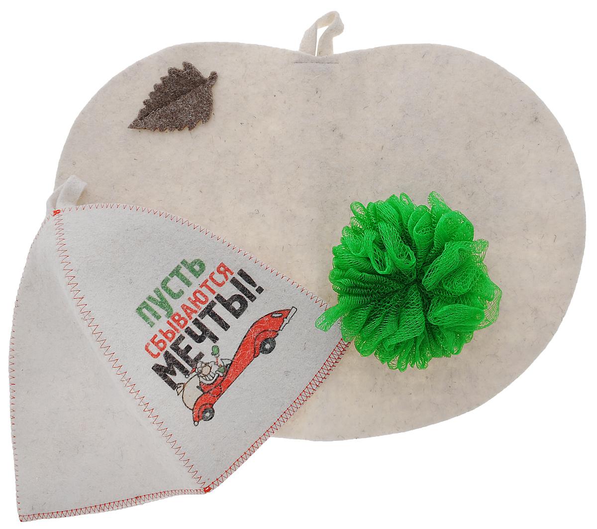 OZON.ruА350_дед мороз на машине/зеленыйПодарочный набор для бани и сауны Главбаня Дед Мороз на машине состоит из шапки, мочалки и коврика. Шапка, изготовленная из шерсти, декорирована красочным изображением и надписью Пусть сбываются мечты!. Благодаря сетчатой мочалке из полиэстера вам обеспечено много пены. Коврик для сидения, выполненный из шерсти, имеет форму яблока и декорирован объемной фигуркой листочка. Такой набор поможет с удовольствием и пользой провести время в бане, а также станет чудесным подарком друзьям и знакомым, которые по достоинству его оценят при первом же использовании. Размер коврика: 44 см х 31 см. Обхват головы шапки: 66 см. Высота шапки: 24 см. Диаметр мочалки: 13 см.