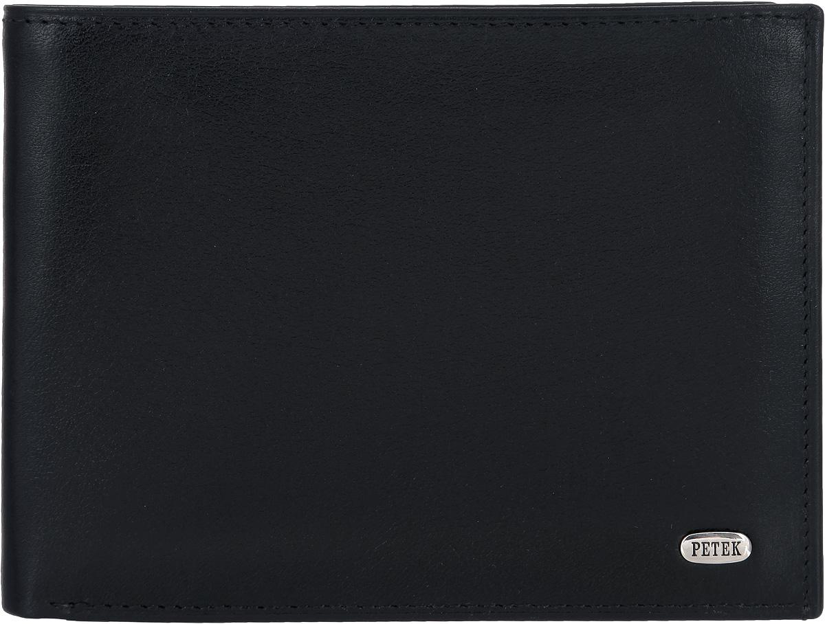 Портмоне мужское Petek 1855, цвет: черный. 220.000.01220.000.01 BlackСтильное мужское портмоне Petek 1855 выполнено из натуральной кожи с гладкой поверхностью. Лицевая сторона оформлена металлической пластиной с гравировкой в виде названия бренда. Изделие раскладывается пополам. Портмоне содержит двенадцать карманов для визиток и кредитных карт, семь потайных карманов и один плоский карман с сетчатым окошком, а также два кармана для купюр. Портмоне упаковано в фирменную коробку. Такое портмоне станет отличным подарком для человека, ценящего качественные и стильные вещи.