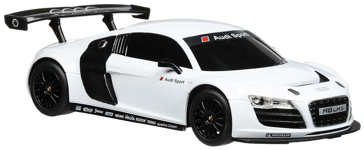 Rastar Радиоуправляемая модель Audi R8 LMC цвет белый53600_белыйРадиоуправляемая модель Rastar Audi R8 LMC станет отличным подарком любому мальчику! Все дети хотят иметь в наборе своих игрушек ослепительные, невероятные и крутые автомобили на радиоуправлении. Тем более, если это автомобиль известной марки с проработкой всех деталей, удивляющий приятным качеством и видом. Одной из таких моделей является автомобиль на радиоуправлении Rastar Audi R8 LMC. Это точная копия настоящего авто в масштабе 1:18. Авто обладает неповторимым провокационным стилем и спортивным характером. Потрясающая маневренность, динамика и покладистость - отличительные качества этой модели. Возможные движения: вперед, назад, вправо, влево, остановка. Имеются световые эффекты. Пульт управления работает на частоте 27 MHz. Для работы игрушки необходимы 4 батарейки типа АА (не входят в комплект). Для работы пульта управления необходимы 2 батарейки типа АА (не входят в комплект).