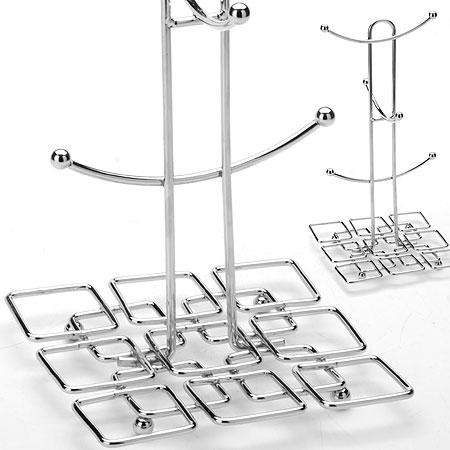 Подставка-стойка для чашек Mayer & Boch, высота 30 см20070Подставка-стойка для чашек Mayer & Boch изготовлена из хромированной стали и рассчитана на 6 чашек. Имеет стильный дизайн. Нижняя часть оформлена в виде узоров квадратной формы. Подставка отлично впишется в любой интерьер и станет практичной принадлежностью в домашнем уюте. Высота подставки - 30 см.