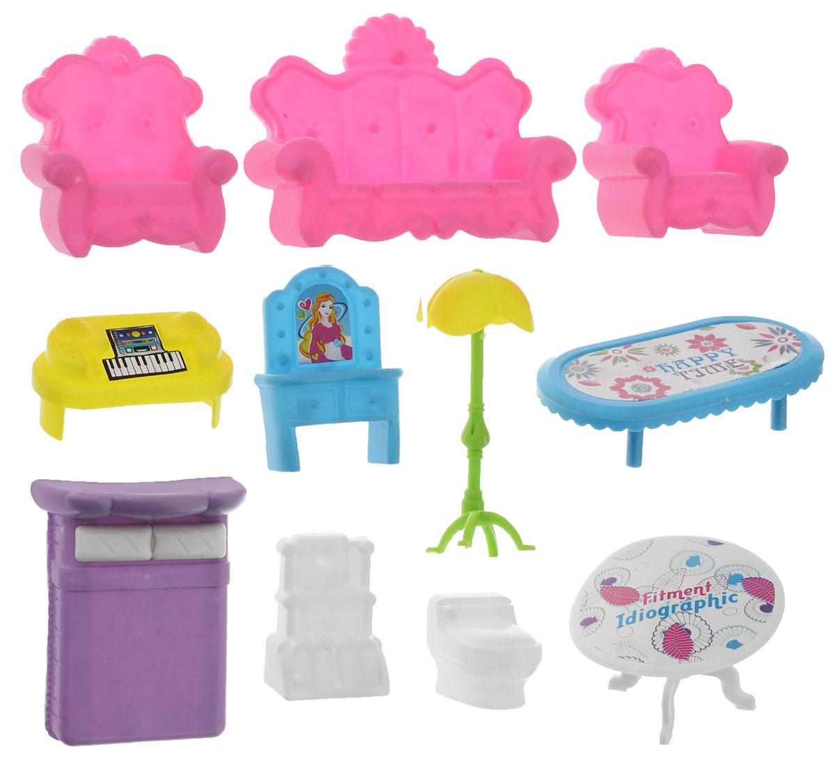 S+S TOYS Мебель для кукол Игрушки для подружки72679Набор мебели для куклы S+S Toys Игрушки для подружки - это замечательный игровой набор, который станет отличным подарком для вашего ребенка. Придумывая множество ситуаций ребенок весело и интересно проведет время. Детали сделаны из качественного и прочного пластика ярких цветов. Набор включает в себя 11 предметов: 2 кресла, диван, кровать, торшер, 2 стола и другую мебель. Игра с таким набором способствует развитию детского воображения, мелкой моторики рук и фантазии. Порадуйте своего ребенка таким набором для куклы.