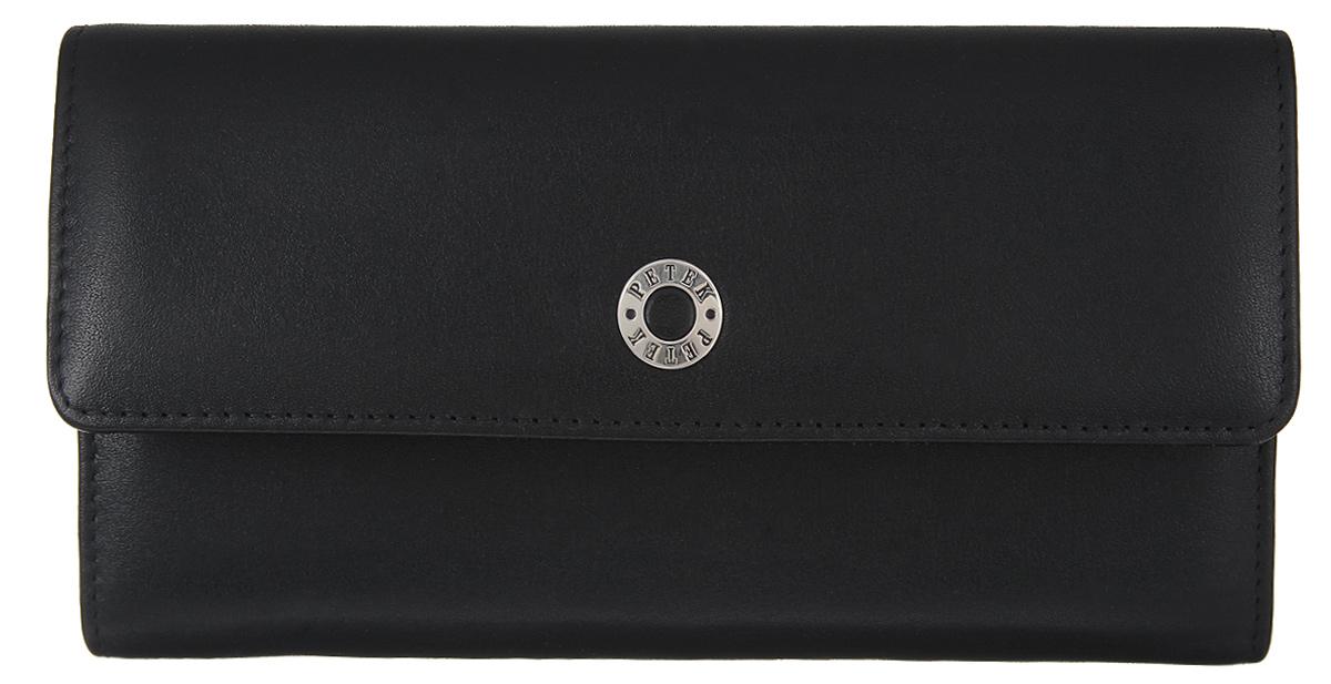 Портмоне женcкое Petek 1855, цвет: черный. 477/1.000.01477/1.000.01 BlackЖенское портмоне Petek 1855 изготовлено из натуральной кожи с зернистой поверхностью. Изделие закрывается клапаном на застежку-кнопку. Основное отделение разделено на два отсека. В первом отсеке, расположены шесть горизонтальных карманов для пластиковых карт, один из которых с окошком из прозрачного сетчатого материала, два больших горизонтальных кармана, одно отделение для купюр. Во втором отсеке, который закрывается на застежку-кнопку, расположены два больших горизонтальных кармана и карман для мелочи на застежке-молнии. Изделие упаковано в фирменную коробку. Стильное портмоне эффектно дополнит ваш образ и станет незаменимым аксессуаром на каждый день.