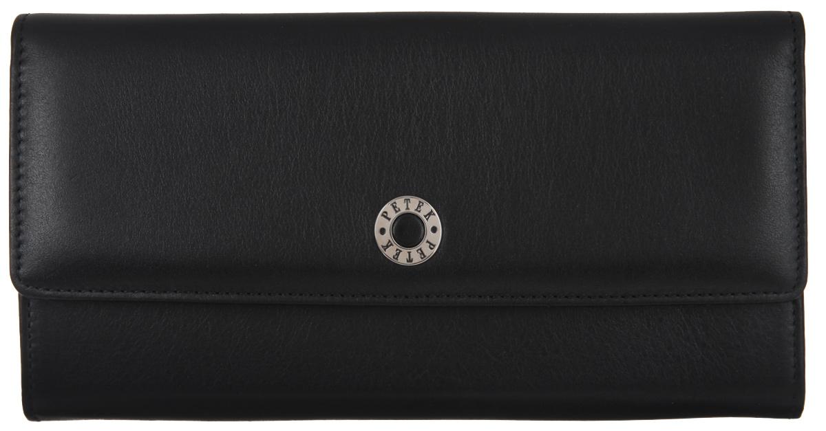 Портмоне женское Petek 1855, цвет: черный. 466.000.01466.000.01 BlackЖенское портмоне Petek 1855 изготовлено из натуральной кожи. Закрывается изделие при помощи клапана на застежку-кнопку. Внутри содержится одно отделение, для купюр разделенное на две части карманом-средником на застежке-молнии, двенадцать горизонтальных кармашков для пластиковых карт (два из которых с окошком из прозрачного сетчатого материала), один большой горизонтальный карман. Изделие упаковано в фирменную коробку. Nnceukia портмоне эффектно дополнит ваш образ и станет незаменимым аксессуаром на каждый день.