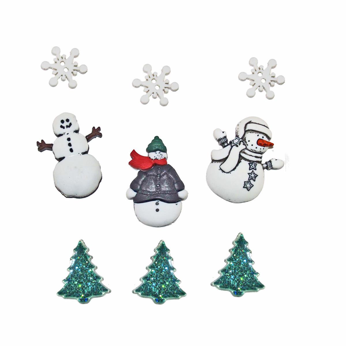 Пуговицы декоративные Dress It Up Снежные друзья, 9 шт7713506Пуговицы декоративные Dress It Up Снежные друзья состоит из 9 декоративных пуговиц, выполненных из цветного пластика в виде снежинок, снеговиков, елей. Такие пуговицы подходят для любых видов творчества: скрапбукинга, декорирования, шитья, изготовления кукол, а также для оформления одежды. С их помощью вы сможете украсить открытку, фотографию, альбом, подарок и другие предметы ручной работы. Пуговицы разных цветов имеют оригинальный и яркий дизайн. Средний размер пуговиц: 3,5 см х 2,5 см х 0,3 см.