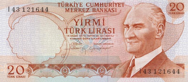 Банкнота номиналом 20 турецких лир. Турция. 1974 год324006Размер 14,3 x 6,5 см. Сохранность очень хорошая.