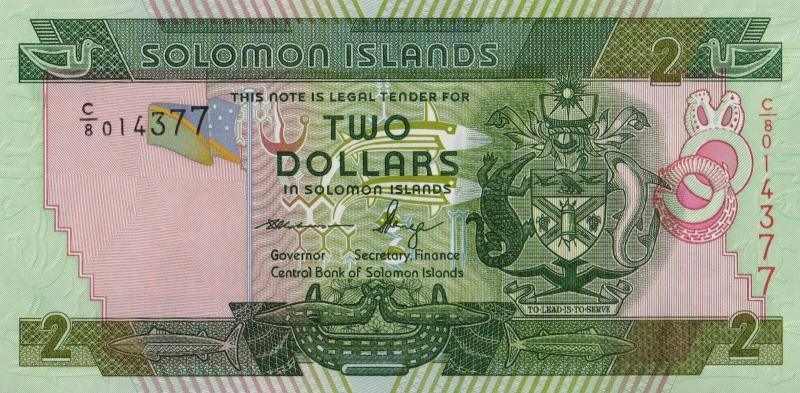 Банкнота номиналом 2 доллара. Соломоновы о-ва. 2011 год324006Банкнота номиналом 2 доллара. Соломоновы о-ва. 2011 год. Размер 14 x 7 см. Сохранность очень хорошая.