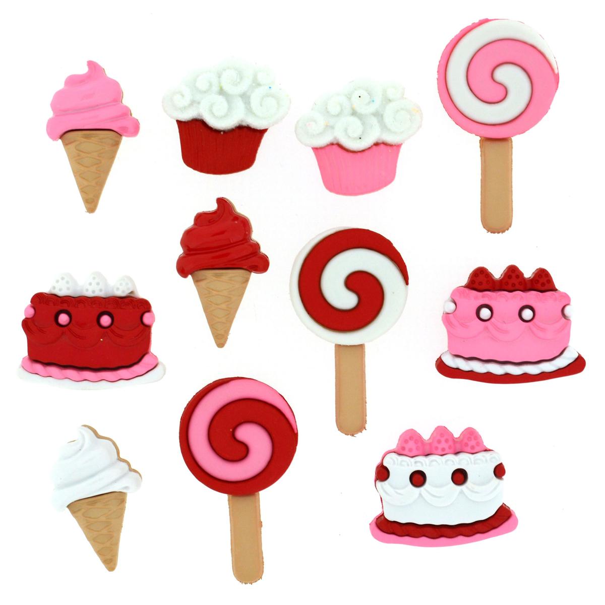 Пуговицы декоративные Dress It Up Сладкоежкам, 11 шт7712035Пуговицы декоративные Dress It Up Сладкоежкам состоит из 11 декоративных пуговиц, выполненных из цветного пластика в виде пирожных с различными наполнителями, тортов, мороженных. Такие пуговицы подходят для любых видов творчества: скрапбукинга, декорирования, шитья, изготовления кукол, а также для оформления одежды. С их помощью вы сможете украсить открытку, фотографию, альбом, подарок и другие предметы ручной работы. Пуговицы разных цветов имеют оригинальный и яркий дизайн. Средний размер пуговиц: 1,7 см х 2 см х 0,3 см.