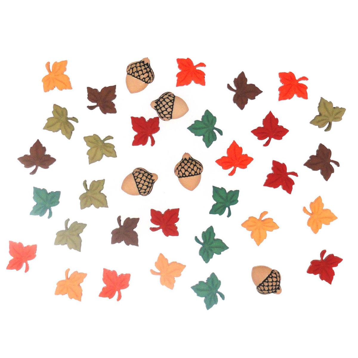 Пуговицы декоративные Dress It Up Осеннее попурри, 28 шт7712053Пуговицы декоративные Dress It Up Осеннее попурри состоит из 28 декоративных пуговиц, выполненных из цветного пластика в виде осенних листьев и желудей. Такие пуговицы подходят для любых видов творчества: скрапбукинга, декорирования, шитья, изготовления кукол, а также для оформления одежды. С их помощью вы сможете украсить открытку, фотографию, альбом, подарок и другие предметы ручной работы. Пуговицы разных цветов имеют оригинальный и яркий дизайн. Средний размер пуговиц: 1 см х 1 см х 0,3 см.