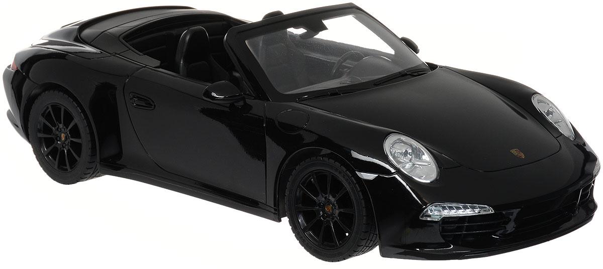 Rastar Радиоуправляемая модель Porsche 911 Carrera S цвет черный47700_черныйРадиоуправляемая модель Rastar Porsche 911 Carrera S станет отличным подарком любому мальчику! Все дети хотят иметь в наборе своих игрушек ослепительные, невероятные и крутые автомобили на радиоуправлении. Тем более, если это автомобиль известной марки с проработкой всех деталей, удивляющий приятным качеством и видом. Одной из таких моделей является автомобиль на радиоуправлении Rastar Porsche 911 Carrera S. Это точная копия настоящего авто в масштабе 1:12. Авто обладает неповторимым провокационным стилем и спортивным характером. Потрясающая маневренность, динамика и покладистость - отличительные качества этой модели. Возможные движения: вперед, назад, вправо, влево, остановка. Имеются световые эффекты. Пульт управления работает на частоте 27 MHz. Для работы игрушки необходимы 5 батареек типа АА (не входят в комплект). Для работы пульта управления необходима 1 батарейка 9V (6F22) (не входит в комплект).