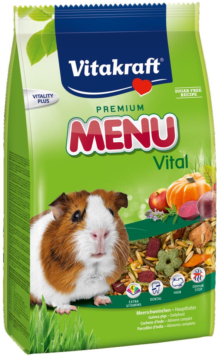 Корм для морских свинок Vitakraft Menu Vital, 1 кг18121Основной корм для морских свинок Vitakraft Menu Vital. В состав входят натуральные ингредиенты, такие как злаки, растительные субпродукты, семена, растительный белок, овощи, хлебные субпродукты, а также необходимые для поддержания жизнеспособности минералы и витамины. Обогащён витамином С, укрепляющим иммунитет. Рекомендуется использовать вместе с крекерами и подкормками. Состав: белок - 11,9%, жиры - 3,3%, клетчатка - 6,7%, зола - 3,1%, влажность - 9,7%. Витамины/кг.: витамин А - 8000 ME, витамин D3 - 800 ME, витамин Е - 24 мг, витамин С - 300 мг, витамин В1 - 4,8 мг, витамин В2 - 4,8 мг, витамин В6 - 1,2 мкг, биотин - 80 мкг. Товар сертифицирован.
