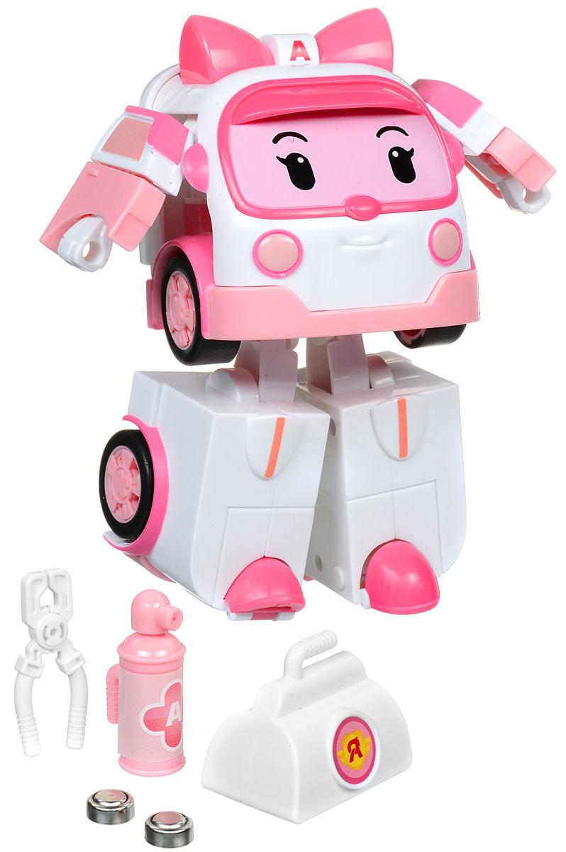 Robocar Poli Игрушка-трансформер Эмбер 13 см83095Игрушка-трансформер Robocar Poli Эмбер не оставит равнодушным вашего малыша. Она выполнена из прочного пластика в виде машинки скорой помощи Эмбер - персонажа мультфильма Робокар Поли и его друзья. Она всегда готова трансформироваться из робота в скорую и примчаться на помощь любому жителю городка Брумстаун. Игрушка-трансформер Robocar Poli Эмбер оснащена инерционным механизмом. При движении машинки ее мигалки начинают светиться. В наборе поставляются медицинские инструменты, которые удобно вкладываются в руки Эмбер (в форме робота) - это чемоданчик, щипцы и баллон. Ваш ребенок с удовольствием будет играть с трансформером, придумывая разные истории. Порадуйте его таким замечательным подарком! Для работы игрушки необходимы 2 батарейки типа AG13 (товар комплектуется демонстрационными).