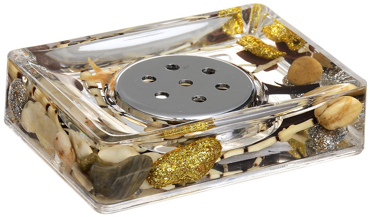 Мыльница Sea Shine345-04Оригинальная мыльница Sea Shine, изготовленная из пластика, отлично подойдет для вашей ванной комнаты. Внутри мыльницы прозрачный гелевый наполнитель с золотистыми и серебристыми ракушками, морской звездой и веточками. Мыльница создаст особую атмосферу уюта и максимального комфорта в ванной.