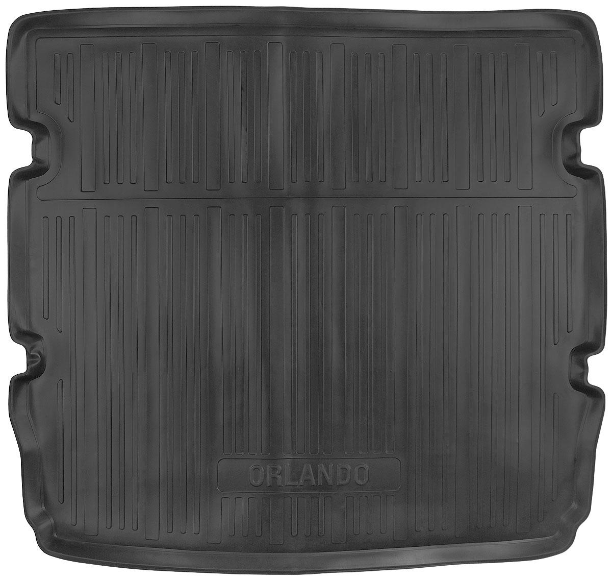 Коврик в багажник L.Locker, для Chevrolet Orlando (10-) EU ver. 5 мест0107110301Коврик L.Locker производится индивидуально для каждой модели автомобиля из современного и экологически чистого материала. Изделие точно повторяет геометрию пола автомобиля, имеет высокий борт, обладает повышенной износоустойчивостью, антискользящими свойствами, лишен резкого запаха и сохраняет свои потребительские свойства в широком диапазоне температур (от -50°С до +80°С).