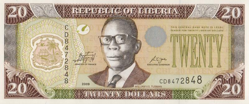 Банкнота номиналом 20 долларов. Либерия. 2009 год324006Размер 13,5,7 x 6,7 см. Сохранность очень хорошая.