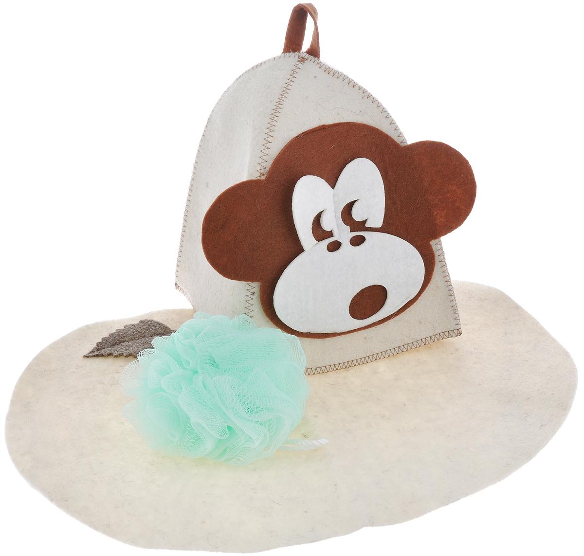 Набор подарочный для бани и сауны Главбаня Обезьянка, цвет: бежевый, мятный, 3 предметаА349В подарочный набор для бани и сауны Обезьянка входят шапка, мочалка и коврик. Шапка, изготовленная из войлока, декорирована объемной фигуркой обезьяны. Благодаря сетчатой мочалке из нейлона вам обеспечено много пены. Коврик для сидения, выполненный из войлока, имеет форму яблока и декорирован объемной фигуркой листочка. Такой набор поможет с удовольствием и пользой провести время в бане, а также станет чудесным подарком друзьям и знакомым, которые по достоинству его оценят при первом же использовании. Размер коврика: 43 см х 32,5 см. Обхват головы шапки: 66 см. Высота шапки: 23 см. Диаметр мочалки: 13 см.