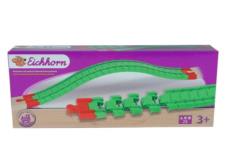 Eichhorn Аксессуар для железной дороги Гибкие рельсы100001405Внимание! Возможно проглатывание мелких деталей.Пользоваться только под непосредственным контролем взрослых с соблюдением необходимой предосторожности. Не обеспечивает защиты при несчастном случае.