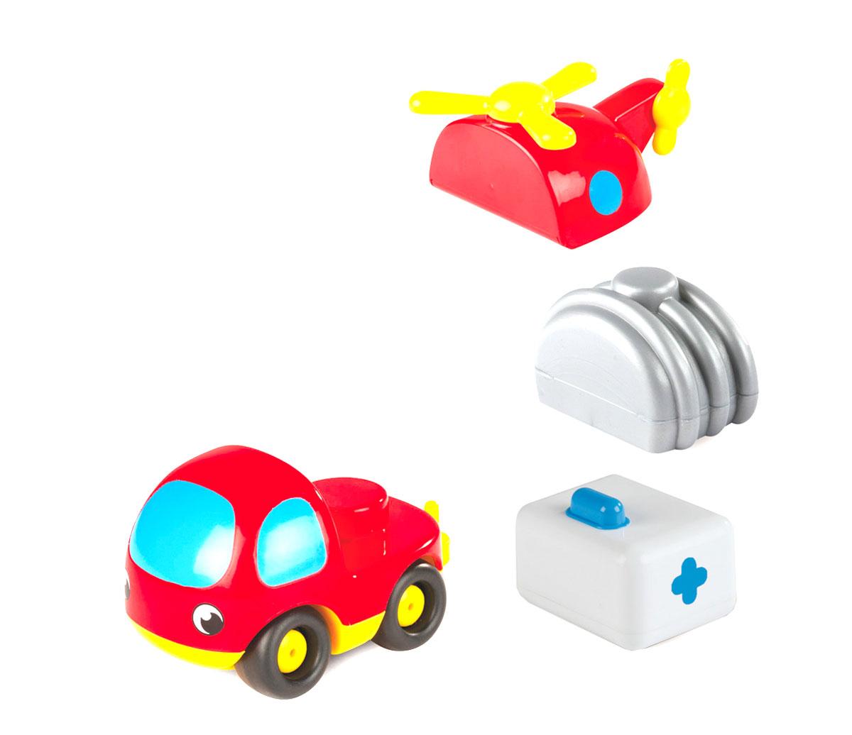 Smoby Машинка конструктор Vroom Planet211195Машинка-конструктор Smoby Vroom Planet непременно привлечет внимание малыша. Игрушка выполнена из абсолютно безопасного для малыша высококачественного пластика. На колесную базу автомобильчика может быть установлена цистерна, медицинский фургон, либо фюзеляж вертолета. Таким образом, меняя съемные детали, ребенок сможет играть поочередно бензовозом, каретой скорой помощи, или вертолетом. Колеса машинки крутятся, поэтому она легко катается по ровной поверхности. Игра с машинкой помогает развивать мелкую моторику, цветовое восприятие, координацию движений, а также являются хорошим средством для развлечения ребенка. Порадуйте своего малыша таким замечательным подарком.