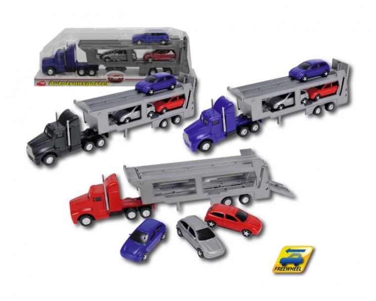 Dickie Toys Трейлер с 4 машинками красный3414759Внимание! Возможно проглатывание мелких деталей.Пользоваться только под непосредственным контролем взрослых с соблюдением необходимой предосторожности. Не обеспечивает защиты при несчастном случае.