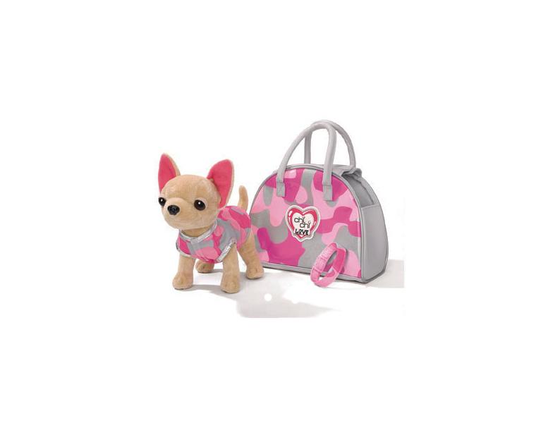 Simba Мягкая игрушка Чихуахуа Розовый камуфляж, с сумкой5890597Комплект: собачка в кофте, ошейник-браслет, сумочка. Внимание! Возможно проглатывание мелких деталей.Пользоваться только под непосредственным контролем взрослых с соблюдением необходимой предосторожности. Не обеспечивает защиты при несчастном случае.