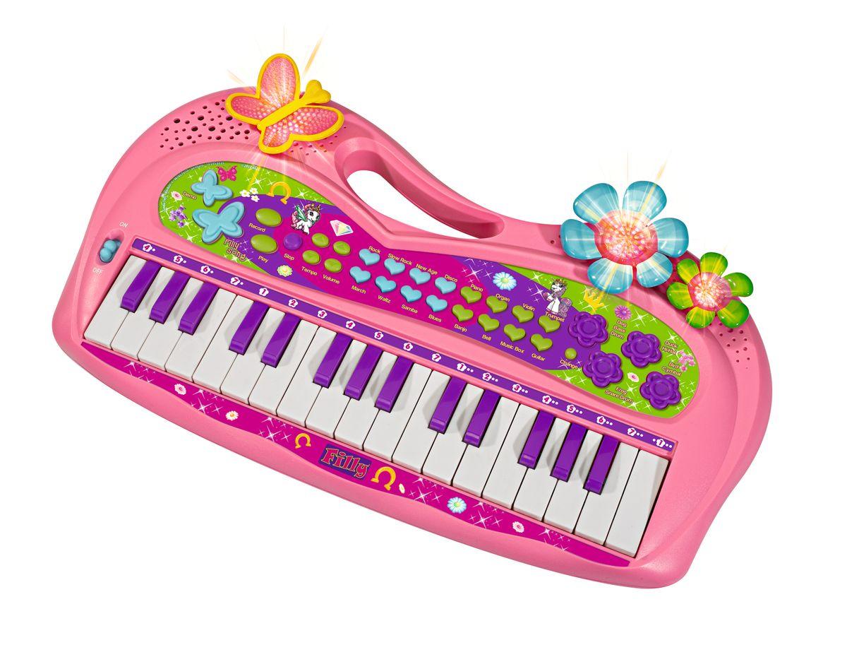 Simba Пианино Filly Keyboard5959335Детское пианино Simba Filly Keyboard, выполненное из прочного пластика, привлечет внимание вашего ребенка и доставит ему много удовольствия от часов, посвященных игре с ним. На панели игрушки расположены 32 клавиши фиолетового и белого цветов и множество других кнопок. У пианино имеются регулировки уровня громкости и темпа воспроизведения. Пианино украшено изображениями лошадок Filly, имеет световые эффекты. С помощью этого пианино ребенок сможет развить свои музыкальные способности, порадовать друзей и близких великолепным концертом! Для работы игрушки требуются 3 батарейки напряжением 1,5V типа АА (комплектуется демонстрационными).