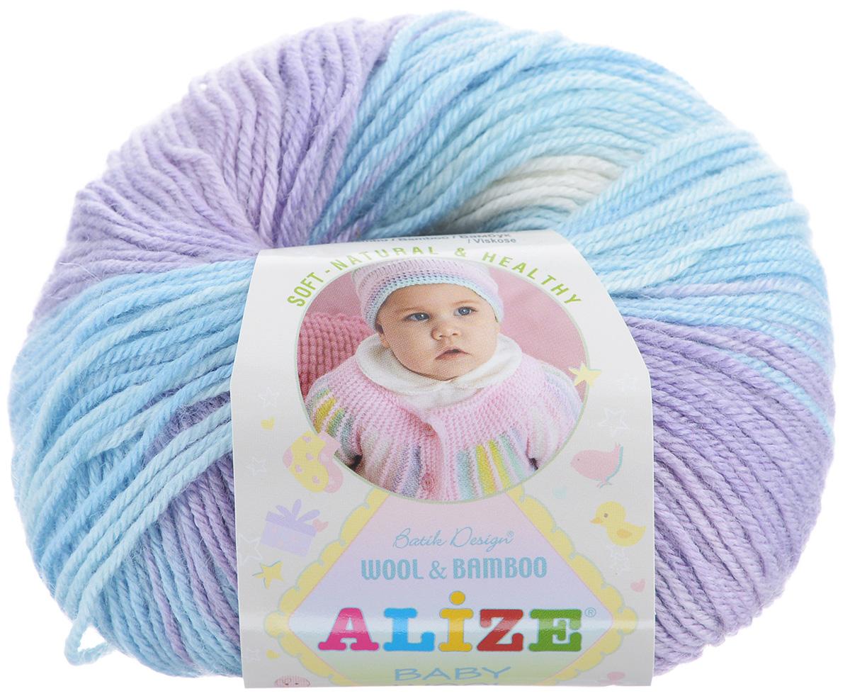 Пряжа для вязания Alize Baby Wool, цвет: сиреневый, голубой, белый (3566), 175 м, 50 г, 10 шт372104_3566Детская пряжа для вязания Alize Baby Wool изготовлена из очень мягкой и высококачественной натуральной шерсти и бамбука. Из пряжи Baby Wool получается тонкий, но очень теплый трикотаж для ребенка. Акрил в составе нитей допускает легкую машинную стирку вещей. Цветовая палитра включает в себя комбинации, которые подходят как для мальчиков, так и для девочек. Рекомендуемые для вязания спицы 2,5-4 мм и крючки 1-3 мм. Состав: 40% шерсть, 40% акрил, 20% бамбук.