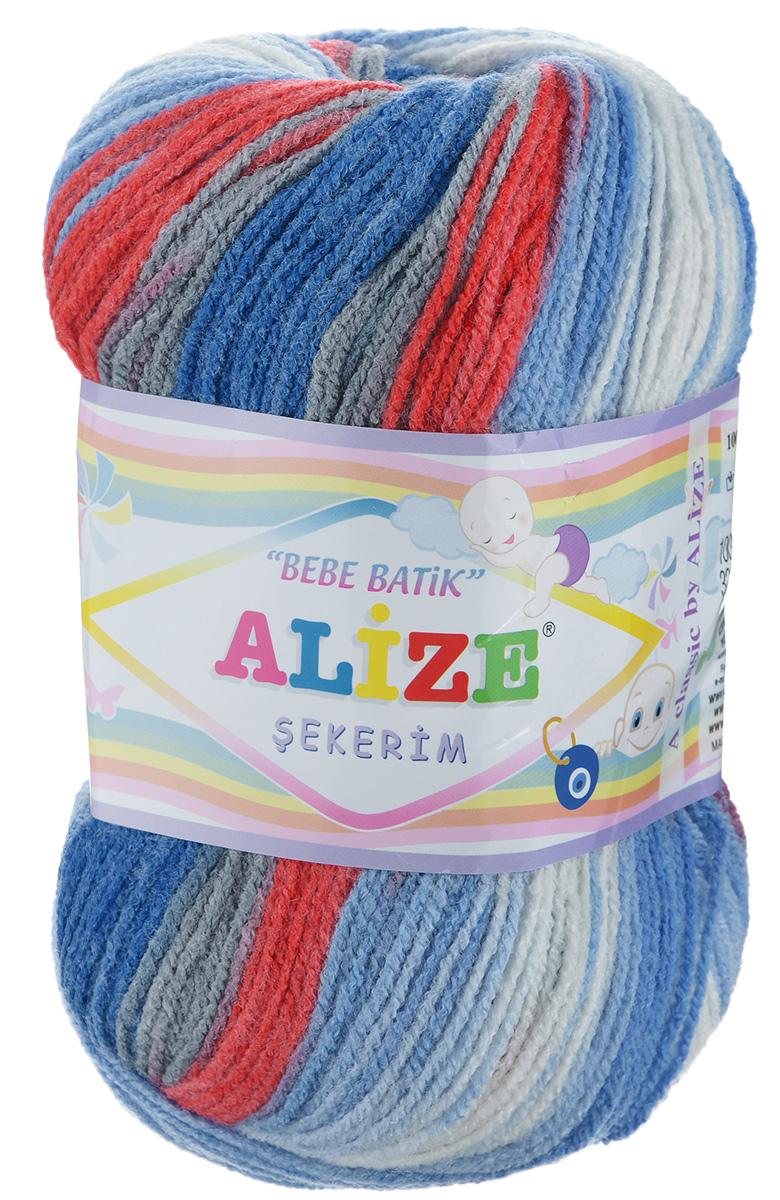 Пряжа для вязания Alize Sekerim Bebe Batik, цвет: белый, синий, красный (3476), 320 м, 100 г, 5 шт364106_3476Пряжа для вязания Alize Sekerim Bebe Batik изготовлена из акрила. Фантазийная пряжа для ручного вязания отлично подойдет для детских вещей. Ниточка мягкая и приятная на ощупь. Подходит для вязания спицами и крючком. Рекомендованные спицы 3-4 мм и крючок для вязания 2-4 мм. Состав: 100% акрил.