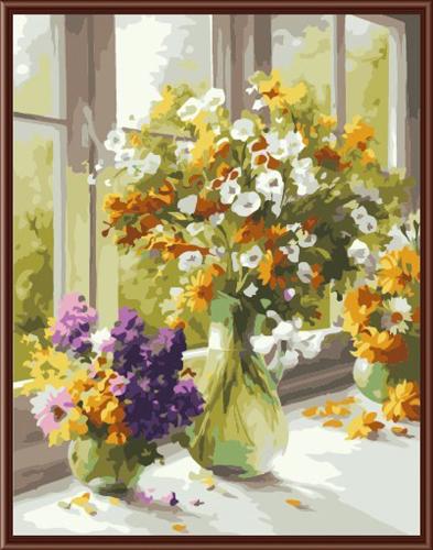 Набор для рисования по номерам Палитра Цветы у окна, 50 см х 65 см7707598Набор для рисования по номерам Палитра Цветы у окна поможет создать красивую картину. Подходит новичкам, любителям и даже тем, кто совершенно не умеет рисовать. С помощью такого набора вы можете стать настоящим художником и создателем прекрасных картин. Вы получите истинное удовольствие от погружения в процесс творчества, а созданные своими руками картины, украсят интерьер вашего дома или станут прекрасным подарком. Техника раскрашивания на холсте по номерам дает возможность легко рисовать даже сложные сюжеты. Прекрасно развивает художественный вкус, аккуратность и внимание. Каждая краска в наборе имеет свой номер, соответствующий номеру области на холсте. Нужно только аккуратно нанести необходимую краску на отмеченный для нее участок. Таким образом, шаг за шагом у вас получится великолепная картина. В набор входит: - подготовленный загрунтованный холст, натянутый на деревянный подрамник; - акриловые краски (24 цвета); - 3...