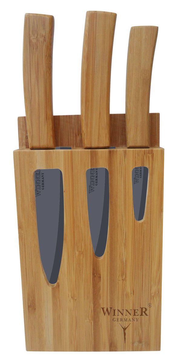 Набор ножей керамических WR-7311 4 предметаWR-73114пр. Ножи: поварской(26,4см), универсальный(24,3см), универсальный(20,3см), толщина лезвий 1,8-2мм. Ручки бамбук., подставка бамбук. Состав: циркониевая керамика.