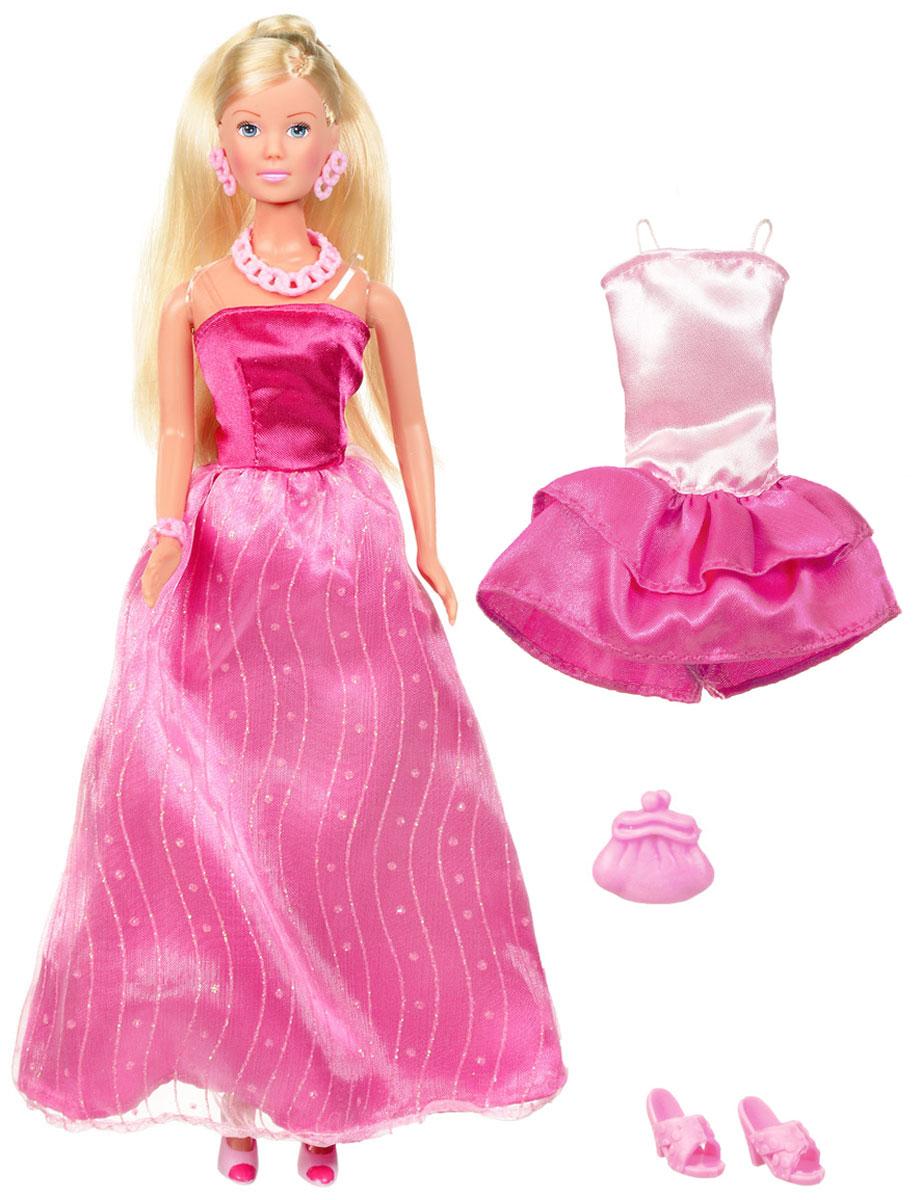 Simba Кукла Штеффи Любит розовое цвет платья розовый5738662_розовыйКукла Simba Штеффи. Любит розовое надолго займет внимание вашей малышки и подарит ей множество счастливых мгновений. Кукла изготовлена из пластика, ее голова, ручки и ножки подвижны, что позволяет придавать ей разнообразные позы. В комплект входят дополнительное платье для куклы и пара босоножек. Куколка одета в элегантное вечернее платье розового цвета. Наряд дополняют длинные серьги, оригинальное колье и небольшая сумочка-клатч. Чудесные длинные волосы куклы так весело расчесывать и создавать из них всевозможные прически, плести косички, жгутики и хвостики. Благодаря играм с куклой, ваша малышка сможет развить фантазию и любознательность, овладеть навыками общения и научиться ответственности, а дополнительные аксессуары сделают игру еще увлекательнее. Порадуйте свою принцессу таким прекрасным подарком!