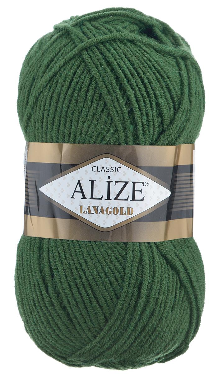 Пряжа для вязания Alize Lanagold, цвет: темно-зеленый (118), 240 м, 100 г, 5 шт364095_118Alize Lanagold - это полушерстяная пряжа для ручного вязания. Нить плотно скручена, гибкая, послушная, не пушится, не электризуется, аккуратно ложится в петли и не деформируется после распускания. Стойкое равномерное окрашивание обеспечивает широкую палитру оттенков. Соотношение шерсти и акрила - формула практичности. Высокие тепловые характеристики сочетаются с эстетикой, носкостью и простотой ухода за вещью. Классическая пряжа для зимнего сезона, может использоваться для детской и взрослой одежды. Alize Lanagold - универсальная пряжа, которая будет хорошо смотреться в узорах любой сложности. Рекомендуемый размер спиц 4-6 мм. Состав: 49% шерсть, 51% акрил.